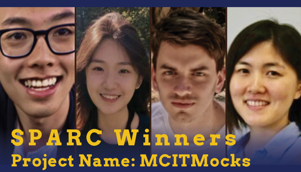 Headshots of two male and two female students who are the Sparc Winners. Their project name is MCIT Mocks.
