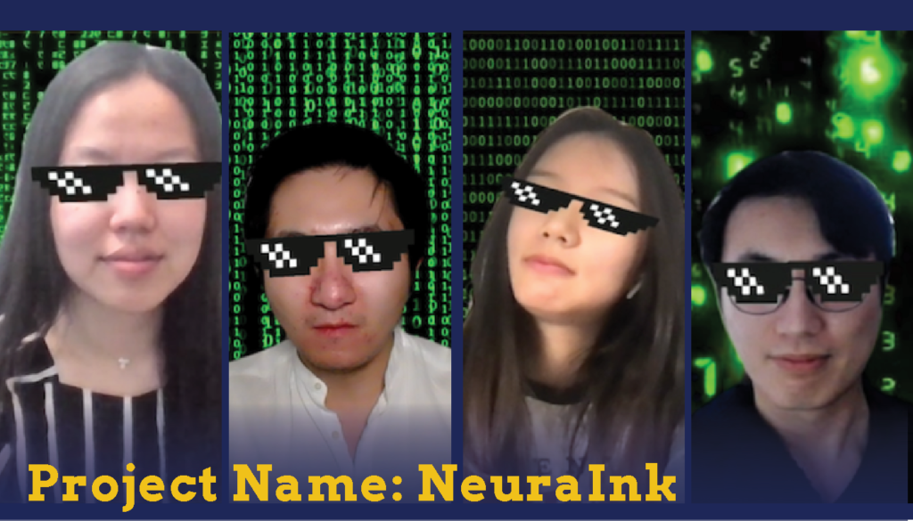 Headshots of two male and tow female students with green and black number background who are Sparc Finalists. Their project name is Neura Ink.