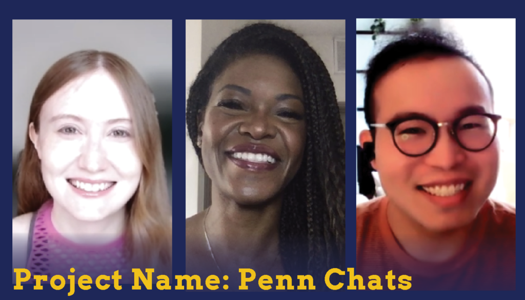 Headshots of two female and one male students who are Sparc Finalists. Their project name is Penn Chats.