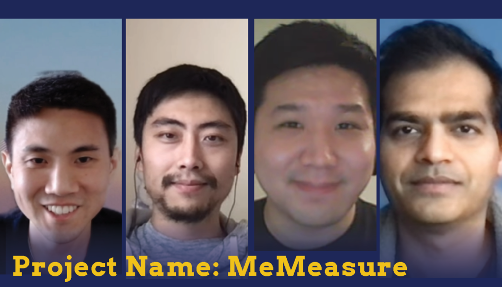 Headshots of four male students who are Sparc Finalists. Their project name is MeMeasure.