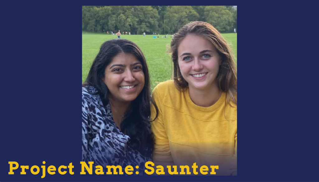 Two female students in the park posing with big smiles for the camera. They are Sparc Finalists. Their project name is Saunter.