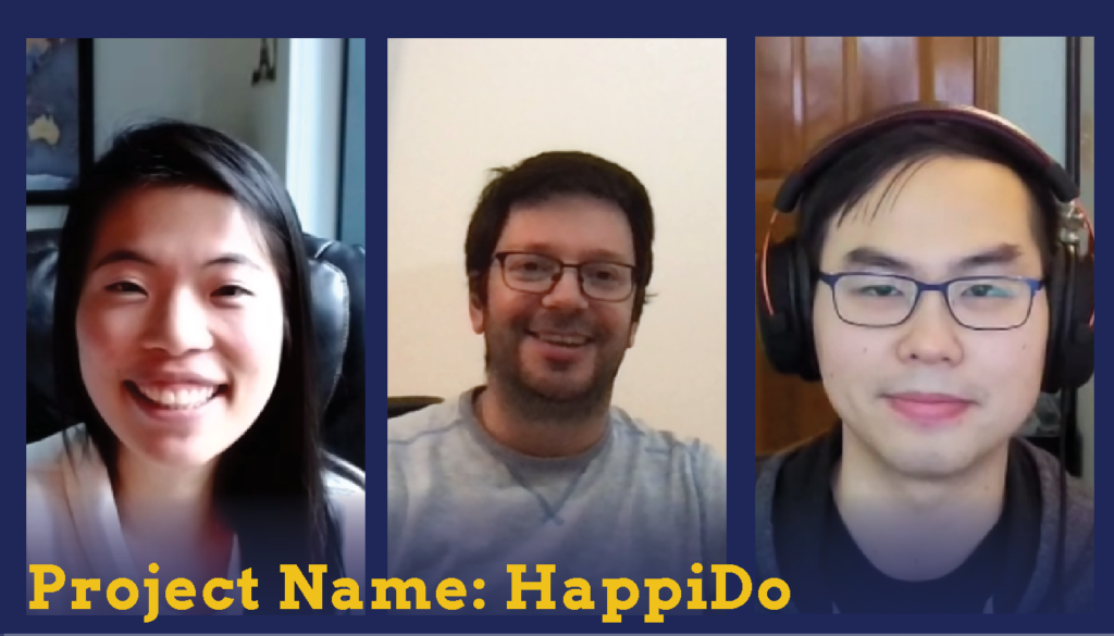Headshots of one female and two male students who are Sparc Finalists. Their project name is Happy Do.