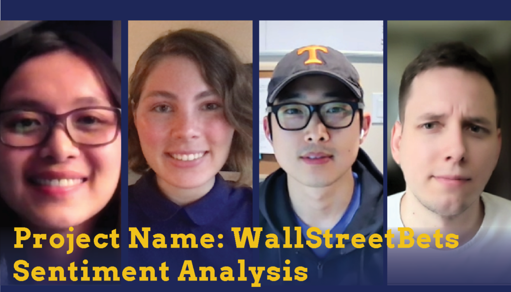 Headshots of two male students and two female students who are Sparc Finalists. Their project name is WallStreetBets Sentiment Analysis.